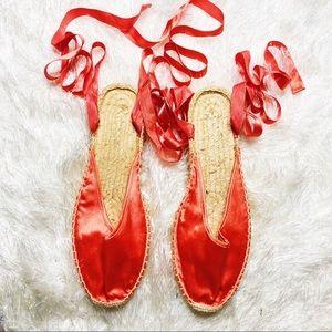 Shoes - orange wrap up espadrilles